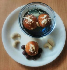 Chocolate stuffed Gulab Jamun!